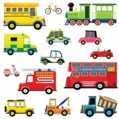 DW-1205B, 14 Transports Wall Stickers; bus, fire engine, train