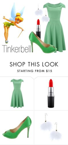 """Tinkerbell~ DisneyBound"" by basic-disney ❤ liked on Polyvore featuring Phase Eight, Disney, MAC Cosmetics, Alexander McQueen and Ana Accessories"