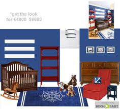 Traditional Navy Nursery for a baby boy in blue,red and white by roomobaby