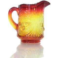 Vintage Wright Glass Three Cherry Amberina Creamer or by Revendeur