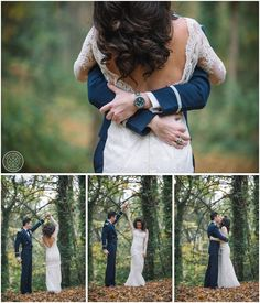 A bride in a beautiful backless lace wedding gown and her groom in his Airforce mess dress!