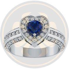 10K White Gold Over D/VVS1 Diamond & Sapphire Heart Engagement Ring For Women's #parasexports #EngagementRIng