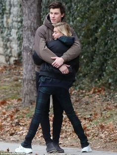 Happy lady: At one point they stopped walking so they could hug on the street. Hailey closed her eyes to enjoy the sweet embrace