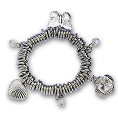 STRETCH RING BRACELET WITH CHARMS- $12.00.