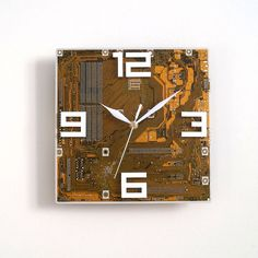 Orange Large Wall Clock Circuit Board Clock Unique Recycled Computer Clock Geek PC Gift Motherboard Clock Silent Clock Computer Parts Clock