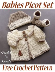 Crochet Babies Picot Set - This is the cutest little set and would make the perfect baby shower gift, consisting of a ski hat, sweater & booties, to fit a month baby. Scroll down the post to get the free baby crochet pattern in UK and USA fomat. Crochet Baby Sweater Pattern, Crochet Baby Sweaters, Baby Sweater Patterns, Crochet Baby Clothes, Baby Patterns, Baby Knitting, Crochet Patterns For Baby, Crochet Baby Stuff, Picot Crochet