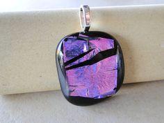 Metallic Pink  Square Dichroic Glass Pendant by RadicalGlass, $19.00
