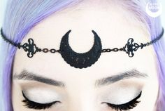 Matte Black Moon Circlet - moon tiara, moon crown, moon head dress, goddess, goth gothic witch witchy wicca pagan goddess sailor moon boho