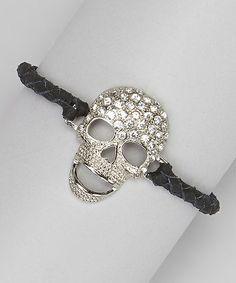 Black Leather Sparkle Skull Bracelet