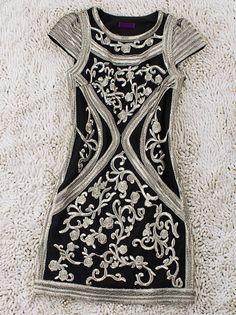 Black Vintage Round Neck Short Sleeve Floral Silk Dress