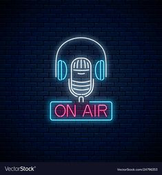 Neon on the air sign with microphone and headphones on dark brick wall backgroun headphone aesthetic On Air Radio, Cafe Icon, On Air Sign, Radios, Music Studio Room, Neon Backgrounds, Neon Logo, Brick Wall Background, Graffiti Wall Art