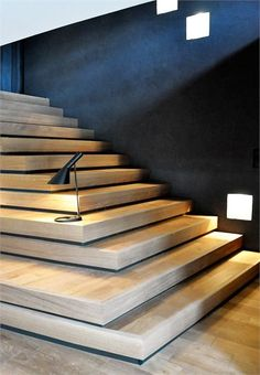 Villa Solaire by Jérémie Kœmpgen Architecture- wood stairs Interior Staircase, Staircase Design, Interior Architecture, Timber Staircase, Stair Design, Modern Staircase, Stair Steps, Stair Railing, Railings