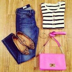 Brand Love { GAP } LIke the stripes with leapord shoes. Different color purse though