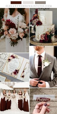 mahogany red,ivory and grey fall and winter wedding color inspiration Wedding Wishes, Wedding Things, Wedding Blog, Our Wedding, Wedding Photos, Wedding Ideas, Grey Wedding Colors, Blue And Blush Wedding, Winter Wedding Colors