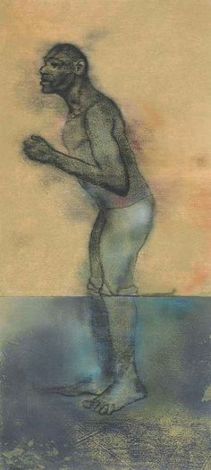 R.B. Kitaj (1932-2007), Bather (Wading),1978, pastel on joined sheets of paper, 124.4 x 56.5 cm