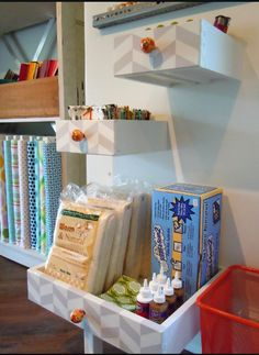 Old drawers made into shelves - designdazzle.blogspot