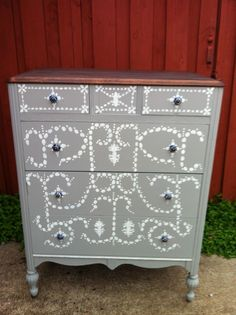 dresser hand painted by Melanie Alexander in Paris Gray and Old White...Chalk Paint® by Annie Sloan #ladybutterbug