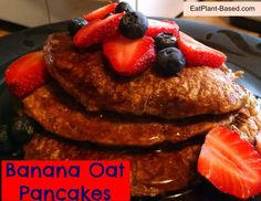 Saturday mornings are likely to be Banana Oat Pancake mornings at my house. Pancakes are my husband's favorite, and Saturdays are a great time to make them. Many times, I will cook a double-batch and freeze the leftovers. They freeze very well and make a quick breakfast on some fast-paced mornings. Top them with any fruit you have on hand and enjoy!