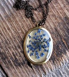 Pressed Blue Queen Anne's Lace Flower Necklace