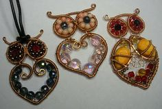 Wire wrapped heart owls . Adorable!