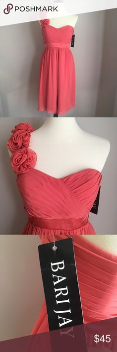 "New w/ Tags one Shoulder Bari Jay Dress in Coral Beautiful one shoulder coral knee length dress! Fabric is chiffon. Perfect for a wedding, bridesmaid, or prom **ALL DRESSES COME WITH DISCOUNT WHEN BUNDLED! (You must bundle & ""Make An Offer"" and I will apply discount!) Cannot be stacked with general closet discount** 2 dresses= 20% off 3 dresses= 30% off Shipping discounts may be applied if deemed applicable! :) From VA Bari Jay Dresses Wedding"