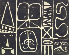 Adolph Gottlieb. Pictograph, ca. 1941-1946, Linoleum cut on paper.