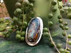 Genuine boulder opal statement ring. Sz. 9.25 by TravellingRockShow on Etsy