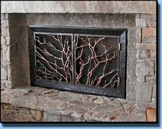 Rustic Fireplace Screens by the Rustic Botanical Fireplace