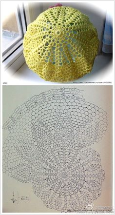 Crochet yellow hat ♥LCH-MRS♥ with diagram