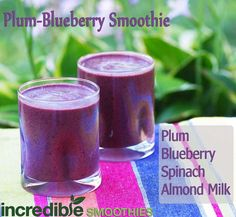 This smoothie is small and simple, but very tasty and is loaded with nutrients! It's 3 plums, 1 cup frozen blueberries, 3 cups baby spinach and 8 ounces of homemade almond milk.   Blueberries are not only high in antioxidants, but they are also an anti-inflammatory food and may help alleviate cognitive decline associated with Alzheimer's disease.  Calories: 218   Protein: 5 grams   Fiber: 10.9 grams   Calcium: 10% DV   Iron: 3.6 mg.