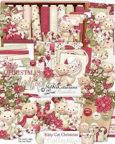 A very cute Christmas digital scrapbooking kit and card making kit with a kitty cat slant to it!  Rich Christmas reds and creams form the base of this digital Christmas kit....and the playful nature of it lends so much inspiration whether choosing to use the cats or not! Kitty Cat Christmas Collection from Nitwit Collections™ #digitalscrapbooking #cardmaking