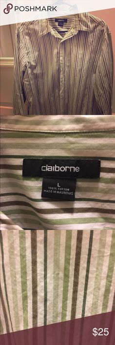 Dress Shirt This dress shirt is a stylish and sophisticated. It looks great with a pair of slacks or even with jeans! Claiborne Shirts Dress Shirts
