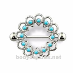 cc2febedf978ee Tribal Stone Embedded Nipple Shield with 316L Surgical Steel Barbell 14ga  Nipple Ring