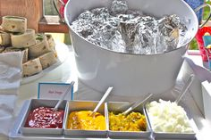Brilliant idea to wrap up hot dogs in foil to keep them warm. Would be great for a BBQ or the 4th of July.