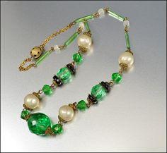 Czech Glass Art Deco Necklace Lime Green Pearl Brass by boylerpf 06eb06aa35