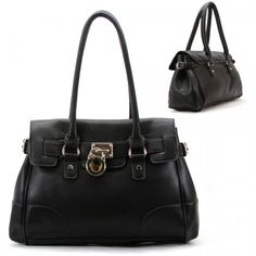 HANDBAG PURSE TREND FASHION WOMAN LOCK STUD BLACK SHOULDER BAG