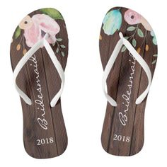 fe1ac47bb84f6  Watercolor Florals on Wood Monogram Wedding Flip Flops -  bridesmaid gifts   bridal bride