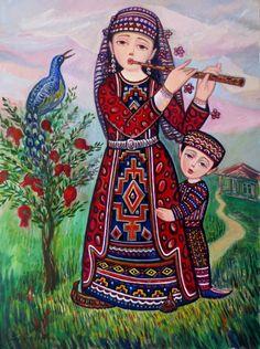 Sevada Grigoryan - original sevada paintings for sale Colorful Paintings, Paintings For Sale, Original Paintings, Original Art, Mixed Media Painting, Mixed Media Art, Palestine Art, Armenian Culture, Family Painting