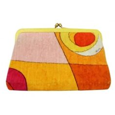 Pre-Owned Vintage Emilio Pucci Yellow & Orange Velvet Clutch ($299) ❤ liked on Polyvore featuring bags, handbags, clutches, orange, preowned handbags, vintage purses, pre owned purses, vintage handbags and kiss lock purse