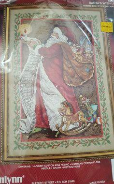 Janlynn SANTA'S WISH LIST Christmas Counted Cross Stitch New #09-67 Vintage #Janlynn #CrossStitch