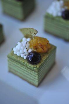 Green tea baumkuchen with pineapple saffron and coconut pearls. Executive Chef Toni Robertson, Restaurant Asiate at Mandarin Oriental New York, New York,