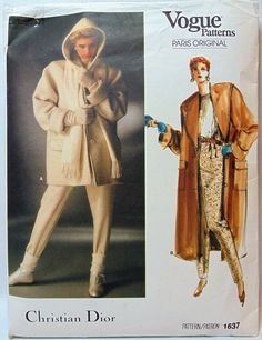 Vogue Paris Original Christian Dior Lined Hooded Coat in 2 Lengths, Flap Pockets, Leggings with Optional Stirrups Size 14 Pattern 1637 Modern Sewing Patterns, Vogue Sewing Patterns, Coat Patterns, Vintage Patterns, Stirrup Pants, Vintage Vogue, Vintage Fashion, Vogue Paris, Wool Coat