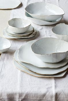 Place Setting - The beauty of natural perfect imperfection for the table; white; plates and bowls; set