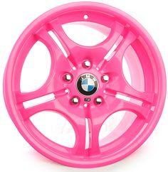 BMW custom pink powder coat rims