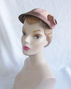 1950's Vintage Mauve Satin Hat with Curled by MyVintageHatShop, $17.00