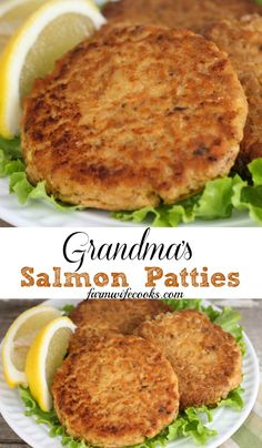 Salmon Patties are an easy recipe that uses canned salmon and is one of grandmas most requested meals!Grandma's Salmon Patties are an easy recipe that uses canned salmon and is one of grandmas most requested meals! Canned Salmon Recipes, Meat Recipes, Seafood Recipes, Cooking Recipes, Healthy Recipes, Leftover Salmon Recipes, Canned Salmon Cakes, Salmon Fish Cakes, Gourmet