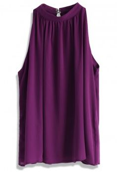 Ethereal Sleeveless Crepe Top in Purple - Retro, Indie and Unique Fashion