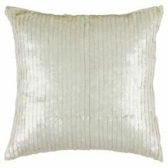 Sequined cotton pillow.    Product: PillowConstruction Material: Cotton cover and siliconized polyester fiber fillerColor: Ivory
