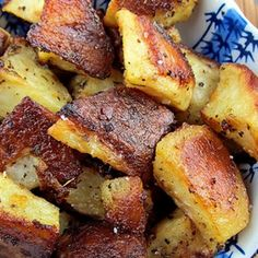 Roasted Mustard Potatoes - A thick and creamy mustard dressing works like magic to form a crispy coating over cubed potatoes that is insanely flavorful.
