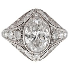 1stdibs | Oval Diamond & Platinum French Engagement Ring GIA